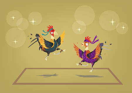 Cockfighting ring with two brave roosters behaving like martial artists. Editable Clip Art.
