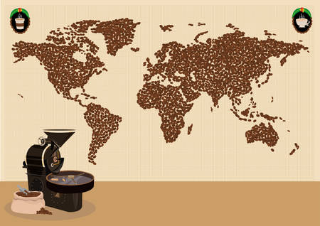 industrial design: Coffee drinkers infographic or use around the world map concept. Editable Clip Art. Illustration of a Map made of coffee beans with tools like grinder