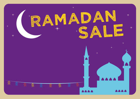 Ramadan Festival Sale concept with Fanoos Lanterns in a Mosque and a Large Crescent Moon. Editable Clip Art.