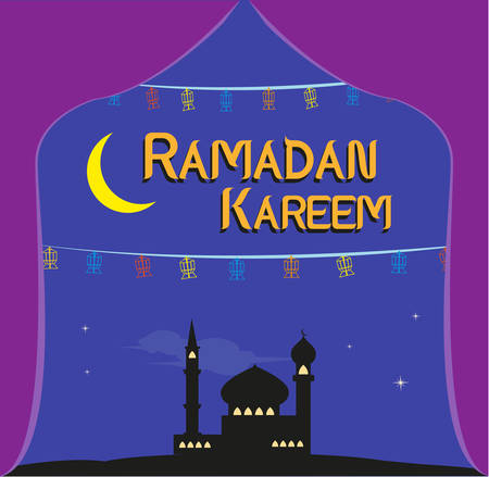 crescent moon: Ramadan Festival Sale concept with Fanoos Lanterns in a Mosque and a Large Crescent Moon. Editable Clip Art.