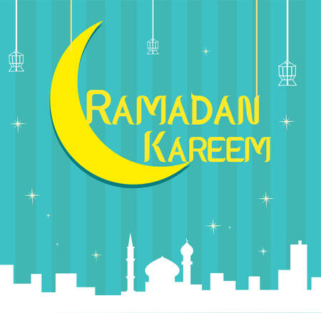 Ramadan Islamic Festival Holiday. Green and Yellow Flat Artwork.  Editable Clip Art.