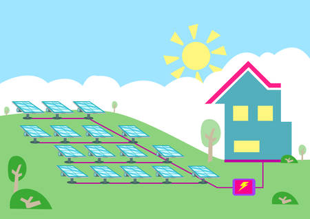converting: An array of solar powered cell converting sun energy  into electricity for homes. Editable Clip art.