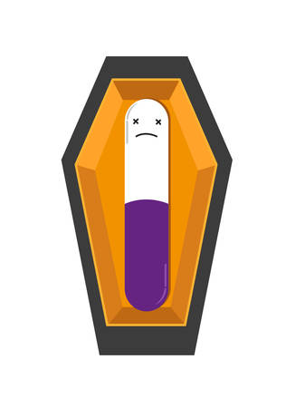Medicine Capsule in a Coffin. Medical error or wrong prescription concept. Editable Clip Art. Ilustrace