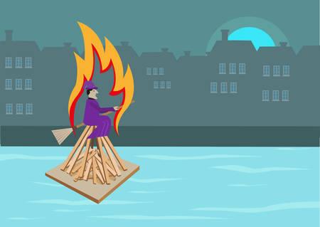 summer solstice: Midsummer Witch Burning Celebration in Denmark. Editable Clip Art. Illustration