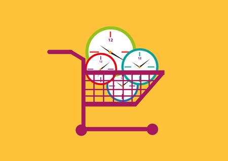 Time allocation or productivity concept. Clocks on a shopping cart. Editable Clip Art.