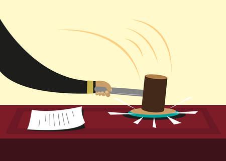 Hamer of hamer gebruikt in de rechtbanken of politieke sessies. Bewerkbare Clip Art. Vector Illustratie