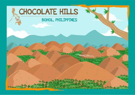 초콜릿 힐스 형성 Bohol, 필리핀에서지도에 점으로 표시됩니다. 편집 가능한 클립 아트