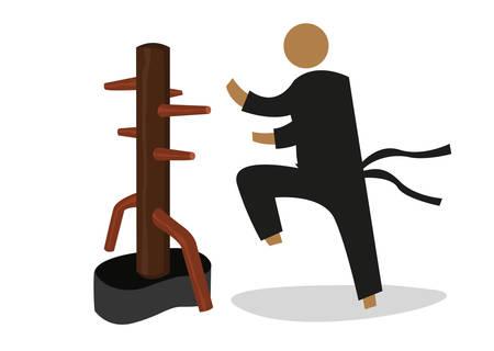 L'uomo Attacchi un manichino di legno utilizzato nella formazione personale da artista marziale. Clip Art modificabile.