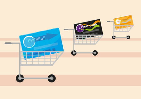 gold rush: Credit cards on a shopping cart concept. Cost of Living idea. Editable Clip art.