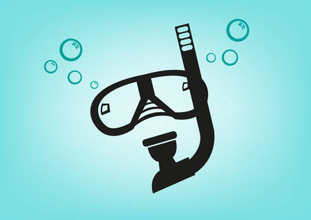 hobbyist: Scuba Diving Mask and Breathing Apparatus. Editable Clip Art. Illustration