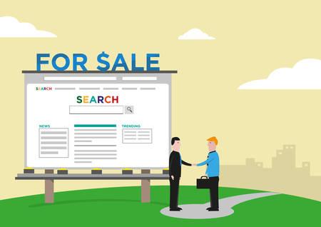 acquisition: Website Company Sale Acquisition  Deal concept. Editable Clip Art.