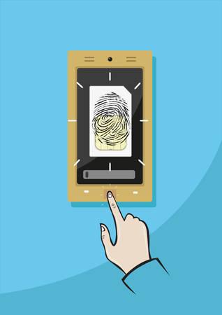 Sim Card Fingerprint Registration. Editable Clip Art.