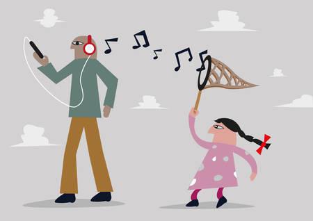 천년와 세대 격차 개념. 여자는 음악 헤드폰에서 메모를 잡는다. 편집 가능한 클립 아트. 일러스트