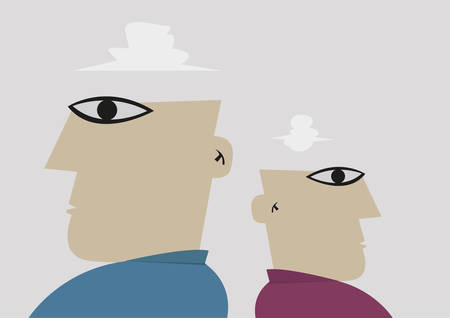 cold war: Two man stand back to back not talking to each other. Editable Clip Art. Illustration