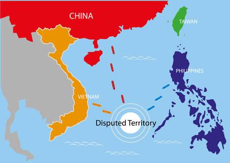 필리핀, 중국 및 베트남 지역 내의 분쟁 지역. 편집 가능한 클립 아트.