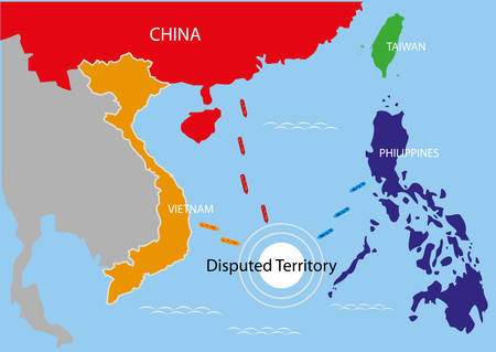 china: Disputed Territory within the area of The Philippines, China and Vietnam. Editable Clip Art.