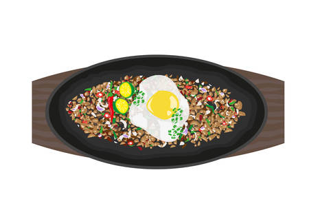 filipino: Sizzling Sisig made of variety of recipes but topped with egg, spices and calamansi juice. Philippine Cuisine concept. Editable Clip Art.