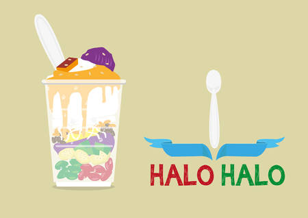 Halo-Halo loosely means Mixture is a popular icy dessert in the Philippines with a lot of ingredients mixed for a delicious sweet fare. Editable Clip Art. Ilustração