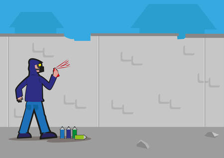 unlawful act: Anonymous Graffiti artist sprays unto an urban decaying wall. Editable Clip Art.
