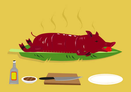 Lechon or a Roasted Suckling Pig is popular festival food in  the Philippines and other former colonies of Spain such as Puerto Rico and Dominican Republic. Editable Clip Art. Illustration