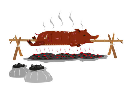 pig roast: Lechon or Suckling Pig on a rotating stick or pole is Roasted over a burning charcoal. Editable Clip art. Illustration