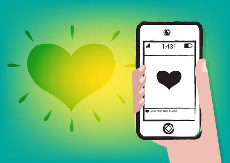 celphone: Dating online or Liking someones picture. Editable Clip art. Illustration