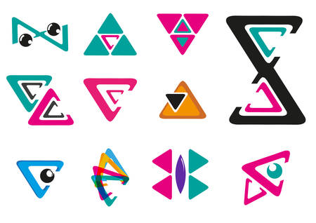 Set of Geometrical or Triangle Logo with different style. Editable Clip art.