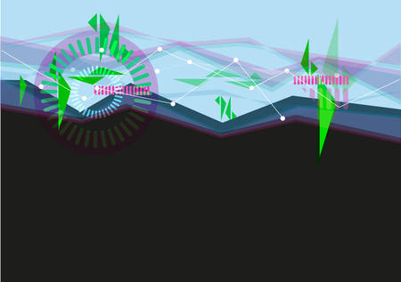 digitized: User Interface concept in Blue and Black with Abstract Waves. Editable Clip Art.