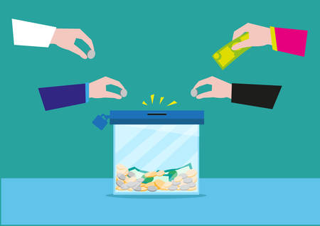 Hands putting money on a glass box or still bank container. Donation or bank savings concept. Editable Clip Art. Illustration