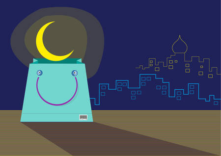 A seemingly Smiling Shopping Bag with an emerging Ramadan Moon. Editable clip art.