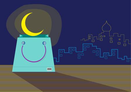 seemingly: A seemingly Smiling Shopping Bag with an emerging Ramadan Moon. Editable clip art.