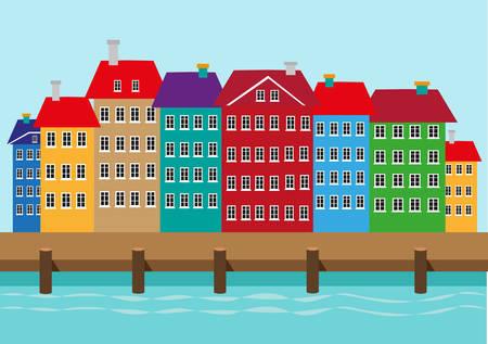 case colorate: Case colorate lungo una darsena o sul porto. quartiere portuale Nyhavn di Copenaghen in Danimarca illustrazione. Clip Art modificabile.