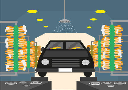 Automated Carwash tunnels with brushes and shower. Editable Clip Art. Illustration