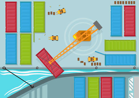 forwarder: Birds Eye View of Shipping Container being moved into a shipping line. Editable Clip Art.