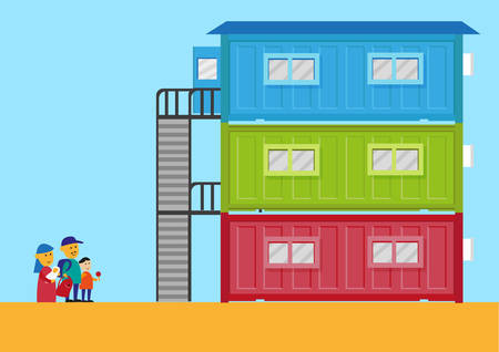 prefabricated: Livable Shipping Container Home for the homeless or immigrants. Editable Clip Art.