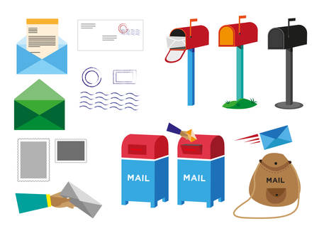 po: Set of Postal Service objects signs and symbols. Editable Clip Art.