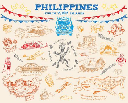 필리핀 낙서 스케치 개념 수집 2. 편집 가능한 클립 아트 벡터 eps10 일러스트