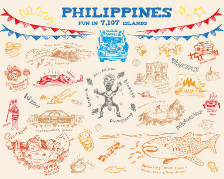 pinoy: Philippine doodle sketch concept collection 2. Editable Clip Art Vector eps10