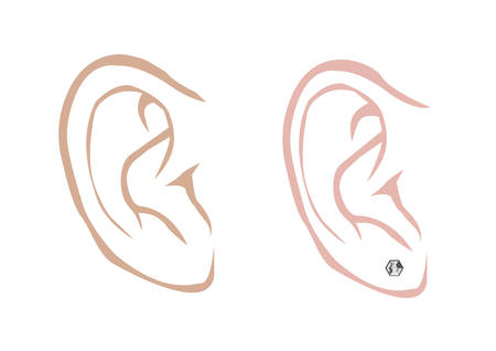 Male and Female Ear with a diamond earring in Outline Art Style. Editable Clip Art.