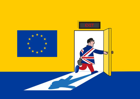 resign: Brexit Concept. Man in British Suit goes out from a European Union Room. Editable Clip art.