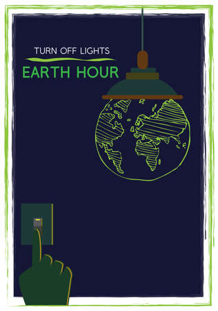 Earth Hour Concept. Hand turns off light and earth glows in the dark. Editable Clip Art.