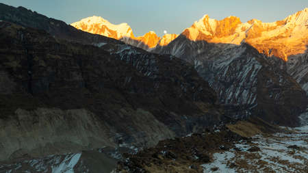 MOON RISES VIEW FROM ANNAPURNA BASE CAMP.one of the worlds most famous trekking. Stock Photo
