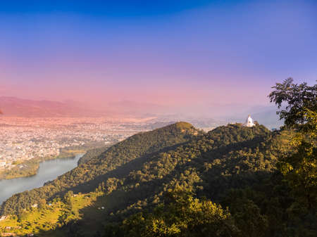 A PANORAMIC VIEW OF POKHARA VALLEY, BEHIND FROM THE WORLD PEACE PAGODA. NEPAL