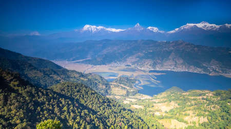 Fishtail Mountain and Phewa Lake view from behind the world peace pagoda Nepal Imagens
