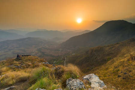 Beautiful Sunset view valey of Bandipur view from hilltop viewpoint famous turist place bandipur Nepal