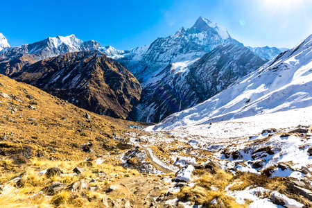 Beautiful Landscapes seen on the way at Annapurna Base Camp Trekking Nepal Stock Photo