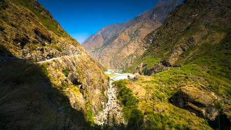 Landscape of manang District on the way annapurna circuit Nepal Stock Photo