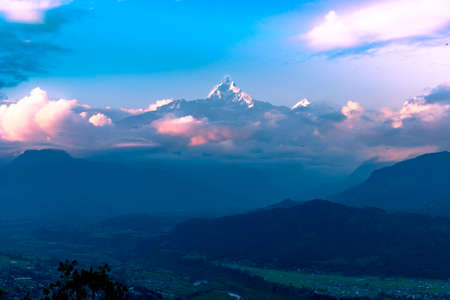 Sunset View of the Fishtail Mountain from Sarangkot Hill in Pokhara,Nepal.