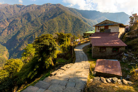 Traditional Buildings of Chhomarong village seen on the way to Annapurna base camp trek.18-12-2018, Chhomrong Nepal