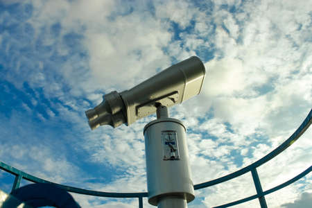 Close up view Binocular on Blue sky on the background Pokhara Nepal